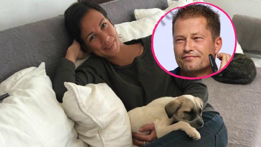 Süß! Hier schmust Til Schweigers Freundin mit seinen Hunden!