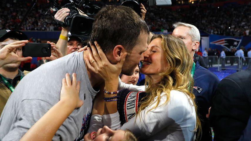 Tom Brady und Gisele Bündchen nach dem Super Bowl-Triumph der New England Patriots