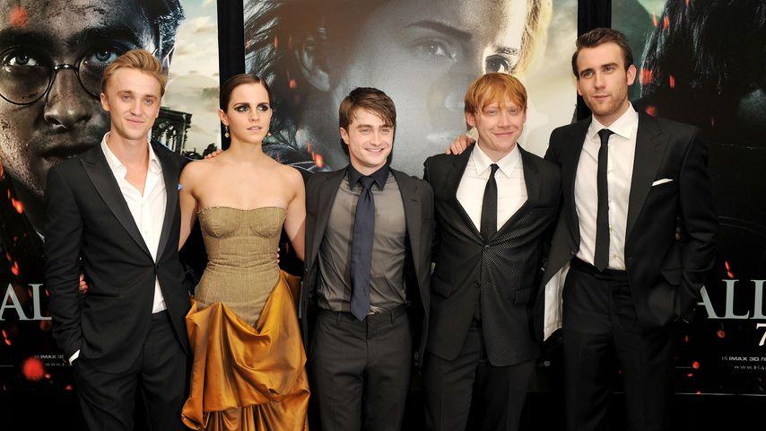 Tom Felton, Emma Watson, Daniel Radcliffe, Rupert Grint und Matthew Lewis, 2011