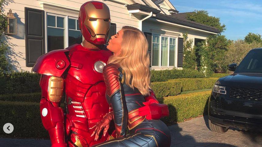 Travis Scott und Kylie Jenner im April 2019 in Marvel-Kostümen