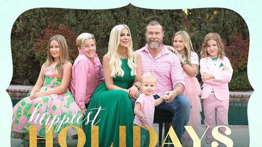 Weihnachtskarte von Tori Spelling, Dean McDermott und ihren Kids