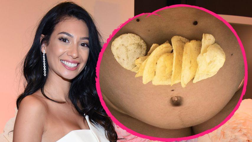 Paola Maria: Ihr runder Babybauch wird zum Snack-Teller!