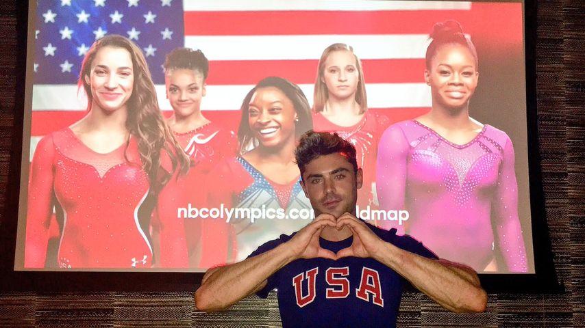 Zac Efron supportet die US-amerikanische Turnerin Simone Biles