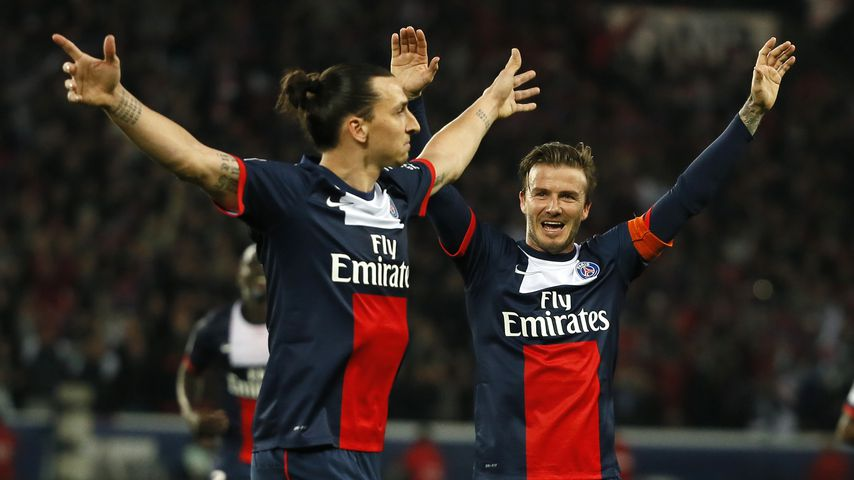Zlatan Ibrahimovic und David Beckham, Ex-Spieler von Paris Saint-Germain
