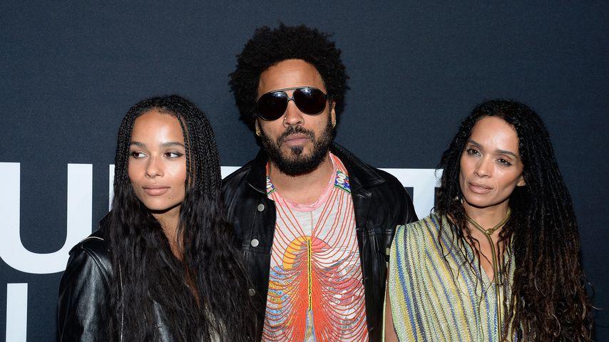 Zoe und Lenny Kravitz  und Lisa Bonet