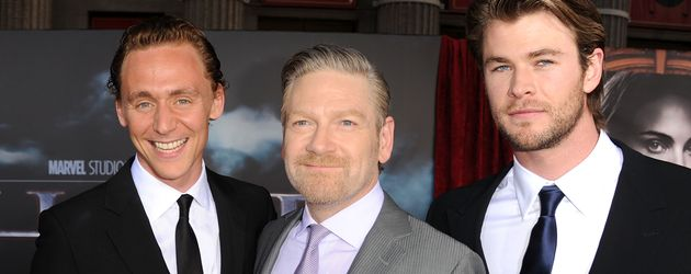 Tom Hiddleston, Regisseur Kenneth Branagh und Chris Hemsworth (v.l.n.r.)