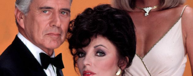 """""""Der Denver Clan""""-Darsteller John Forsythe, Joan Collins und Linda Evans"""