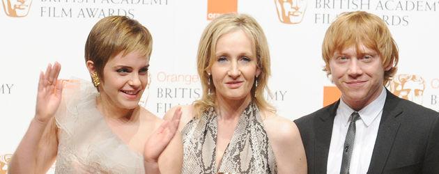 J.K. Rowling, Emma Watson und Rupert Grint