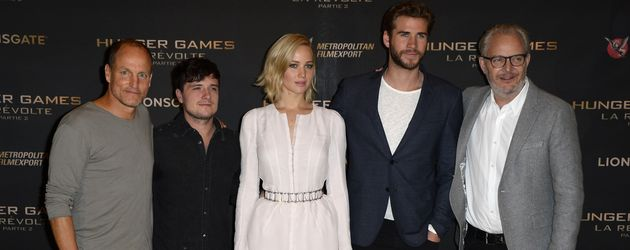 Liam Hemsworth, Hunger Games, Jennifer Lawrence, Josh Hutcherson und Woody Harrelson
