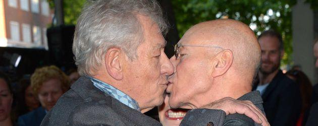 """Ian McKellen und Patrick Stewart bei der Premiere von """"Mr. Holmes"""" in London 2015"""