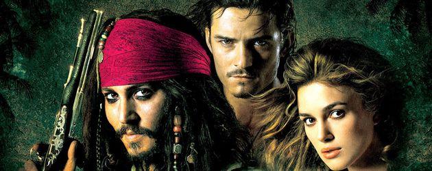 """Johnny Depp, Orlando Bloom und Keira Knightley auf einem """"Fluch der Karibik""""-Plakat"""