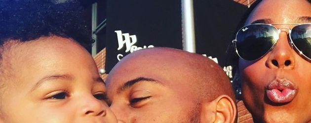 Kelly Rowland mit ihrem Mann und ihrem Sohn