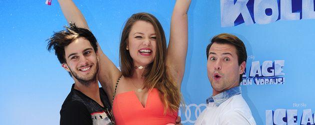 """Marc Aurel Zeeb, Joelina Drews und Rocco Stark auf der """"Ice Age""""-Premiere"""