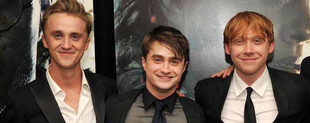 Tom Felton, Daniel Radcliffe und Rupert Grint auf einer Filmpremiere